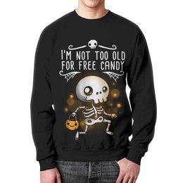 "Свитшот унисекс с полной запечаткой ""Хэллоуин"" - скелетон"