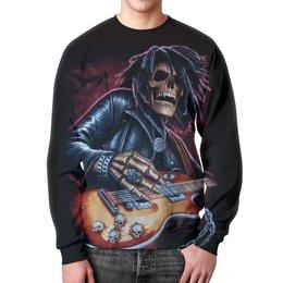 """Свитшот мужской с полной запечаткой """"Смерть с гитарой"""" - череп, скелет, рок и метал"""