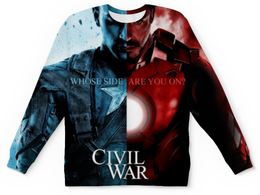 """Свитшот унисекс с полной запечаткой """"Первый мститель  Противостояние"""" - железный человек, капитан америка, captain america, iron, civil war"""