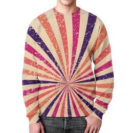 """Свитшот унисекс с полной запечаткой """"Радужный"""" - арт, радуга, полосы, винтаж, лучи"""