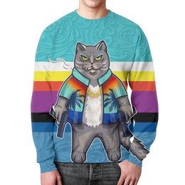 """Свитшот мужской с полной запечаткой """"CatMafia"""" - кот, мульт, кот бегемот, с сигаретой, с пистолетами"""