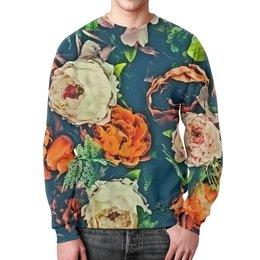 """Свитшот мужской с полной запечаткой """"Flowers"""" - цветы, узор, весна, цветочки, пионы"""
