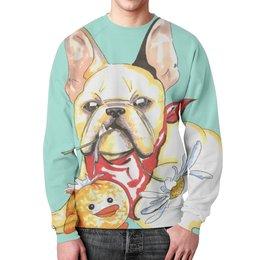 """Свитшот унисекс с полной запечаткой """"Бульдожка"""" - щенок, собака, мило, бульдог"""