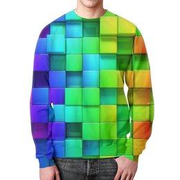 """Свитшот унисекс с полной запечаткой """"Кубики"""" - арт, радуга, цвета, кубики, объём"""