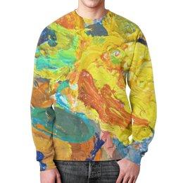 """Свитшот мужской с полной запечаткой """"""""Краска на палитре"""""""" - искусство, разноцветный, яркий, художник, пестрый"""