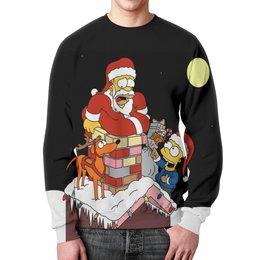 """Свитшот унисекс с полной запечаткой """"Санта Клаус(Симпсоны)"""" - новый год, симпсоны, праздники, санта клаус, the simpsons"""