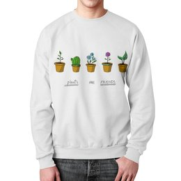 """Свитшот унисекс с полной запечаткой """"цветули"""" - цветы, растение, кактус, горшок, комнатныерастения"""