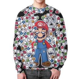 "Свитшот унисекс с полной запечаткой ""Марио"" - арт, игра, марио, таблетки"