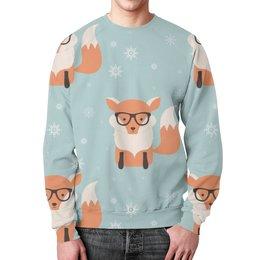 """Свитшот унисекс с полной запечаткой """"Лисички"""" - животные, очки, лисички"""
