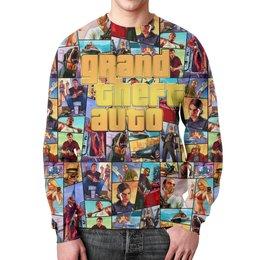 """Свитшот мужской с полной запечаткой """"Grand Theft Auto GOLD"""" - компьютерные игры, сыну, гта, автолюбителям, игроманам"""
