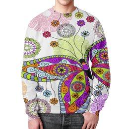"""Свитшот унисекс с полной запечаткой """"Бабочки"""" - цветы, природа, хохлома, роспись, букет"""