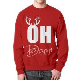 """Свитшот унисекс с полной запечаткой """"Deer """" - олень, рога, deer"""