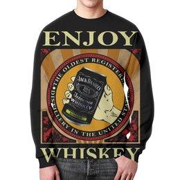 "Свитшот мужской с полной запечаткой ""Jack Daniels"" - алкоголь, виски, whiskey, alcohol, jack daniels"