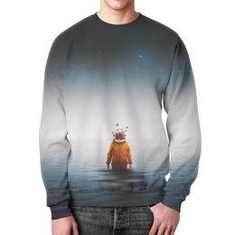 """Свитшот мужской с полной запечаткой """"Space in ocean"""" - бабочки, space, космос, океан, космонавт"""