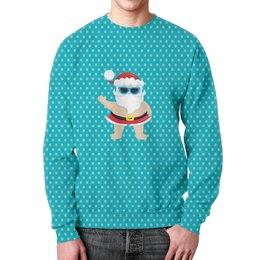 """Свитшот мужской с полной запечаткой """"Санта"""" - новый год, снег, дед мороз, санта, горошек"""