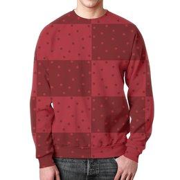 """Свитшот унисекс с полной запечаткой """"Красный геометрический узор"""" - красный, тон, горох, прямоугольник, оттенок"""
