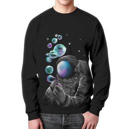 """Свитшот мужской с полной запечаткой """"Космонавт """" - в космосе"""