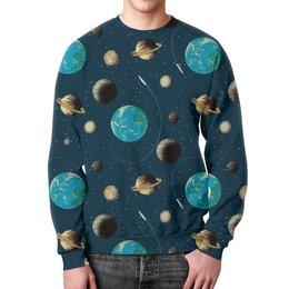 """Свитшот мужской с полной запечаткой """" Космос """" - земля, луна, вселенная, планеты, сатурн"""
