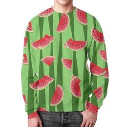 """Свитшот унисекс с полной запечаткой """"Арбуз"""" - полоска, красный, ягода, зеленый, семена"""