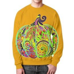 """Свитшот унисекс с полной запечаткой """"Необыкновенная тыква"""" - тыква, яркая, необычная, хеллоуин, рисование"""
