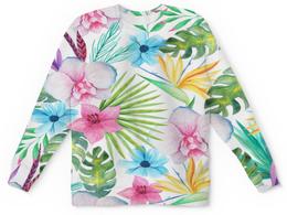 """Свитшот унисекс с полной запечаткой """"Тропики"""" - цветы, лес, природа, букет, листья"""