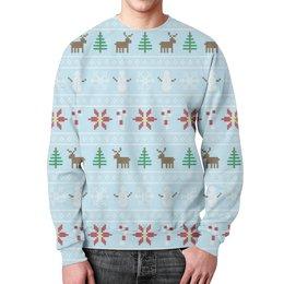 """Свитшот унисекс с полной запечаткой """"Рождественская сказка"""" - новый год, зима, рождество, олень, елка"""