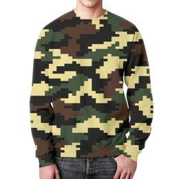 """Свитшот унисекс с полной запечаткой """"camouflage brown"""" - 23 февраля, армия, камуфляж, пиксели, силовые структуры"""