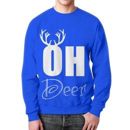 """Свитшот мужской с полной запечаткой """"Олень"""" - олень, рога, deer"""
