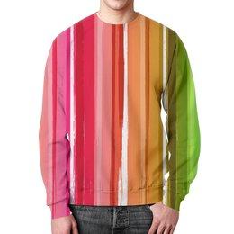 """Свитшот унисекс с полной запечаткой """"Цветная радуга"""" - рисунок, цветной, полосатый, палитра, красочный"""