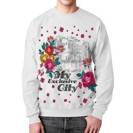 """Свитшот унисекс с полной запечаткой """"Город"""" - цветы, город"""