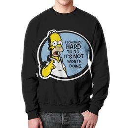 """Свитшот унисекс с полной запечаткой """"Мудрость Гомера Симпсона"""" - simpsons, homer, прикольные, гомер симпсон, симпспоны"""