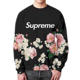 """Свитшот унисекс с полной запечаткой """"Supreme"""" - цветы, весна, розы, supreme, букет"""