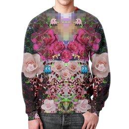 """Свитшот мужской с полной запечаткой """"8 bit"""" - 8 bit, space, collage, acid, roses"""