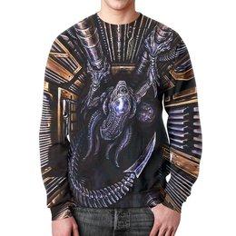 """Свитшот мужской с полной запечаткой """"ALIEN Design"""" - монстр, инопланетянин, фантастика, чужой, пришелец"""