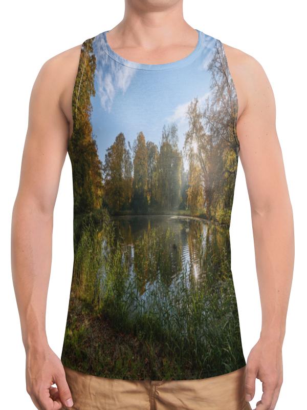 Борцовка с полной запечаткой Printio Деревья у озера цена
