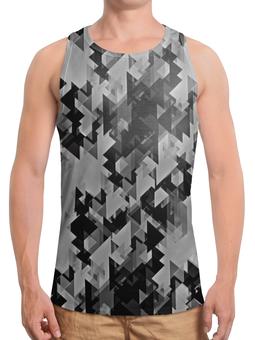 """Борцовка с полной запечаткой """"Графика"""" - треугольники, фигуры, геометрия, черно-белые, графика"""