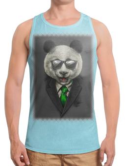 """Борцовка с полной запечаткой """"Модный панда медведь"""" - арт, bear, медведь, панда, panda"""