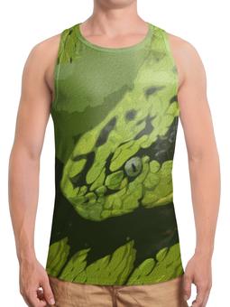 """Борцовка с полной запечаткой """"Змея """" - змея, зеленый, гад, опасный, ядовитый"""