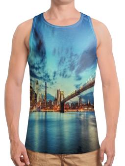 """Борцовка с полной запечаткой """"Бруклинский мост"""" - new york, страны, ночь, река, городы"""