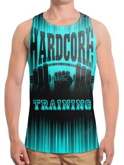 """Борцовка с полной запечаткой (Мужская) """"HARDCORE TRAINING!!!"""" - gym, training, гантеля, спортзал, кач"""