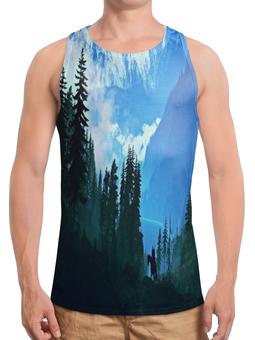 """Борцовка с полной запечаткой """"Елки в горах"""" - лес, деревья, природа, горы, пейзаж"""