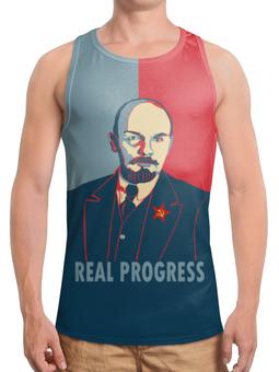 """Борцовка с полной запечаткой (Мужская) """"Ленин"""" - рисунок, ленин"""