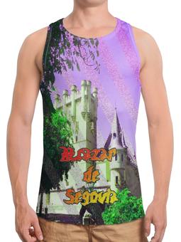 """Борцовка с полной запечаткой (Мужская) """"Замки Испании.Крепость Сеговия."""" - сиреневый, фиолетовый, испания, полоски, крепость"""