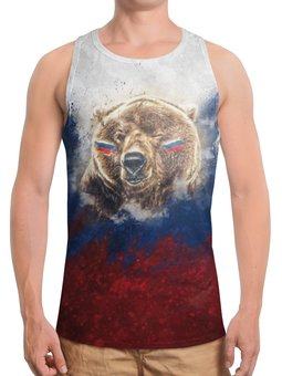 """Борцовка с полной запечаткой """"Русский Медведь"""" - футбол, медведь, россия, флаг, триколор"""