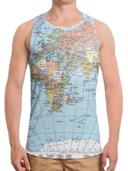 """Борцовка с полной запечаткой """"Карта мира"""" - мир, страны, карта, политика, география"""