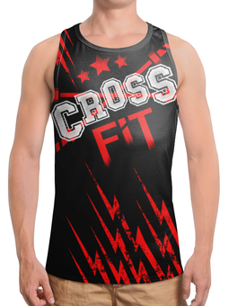 """Борцовка с полной запечаткой """"CROSSFIT"""" - gym, спортзал, crossfit, кроссфит, молнии"""