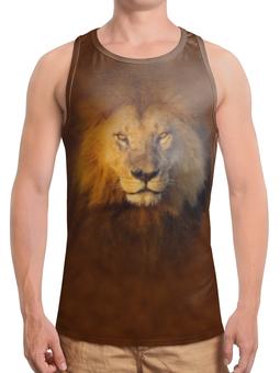 """Борцовка с полной запечаткой (Мужская) """"Лев     """" - кот, хищник, дикий, лев, грива"""