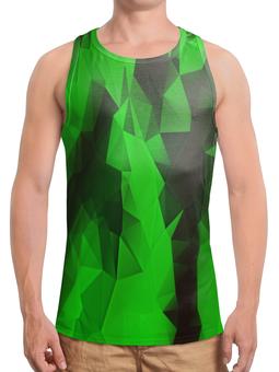 """Борцовка с полной запечаткой """"Зеленые стекла"""" - абстракция, цветные, изумрудный, стекла"""