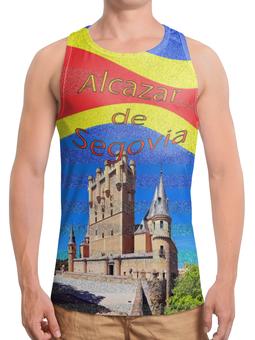 """Борцовка с полной запечаткой (Мужская) """"Замки Испании. Замок Сеговия."""" - голубой, испания, полоски, крепость, испанский флаг"""