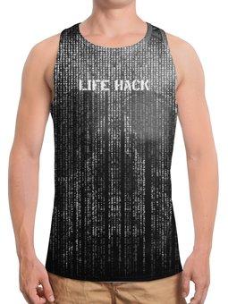 """Борцовка с полной запечаткой """"Череп Life Hack"""" - skull, череп, фразы, матрица, hacker"""